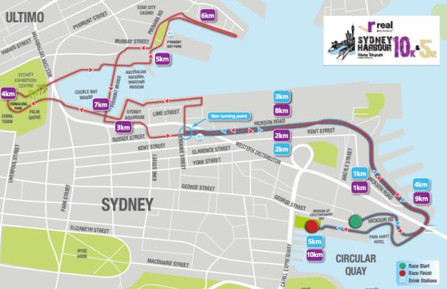 Sydney Harbour 10K Course Map