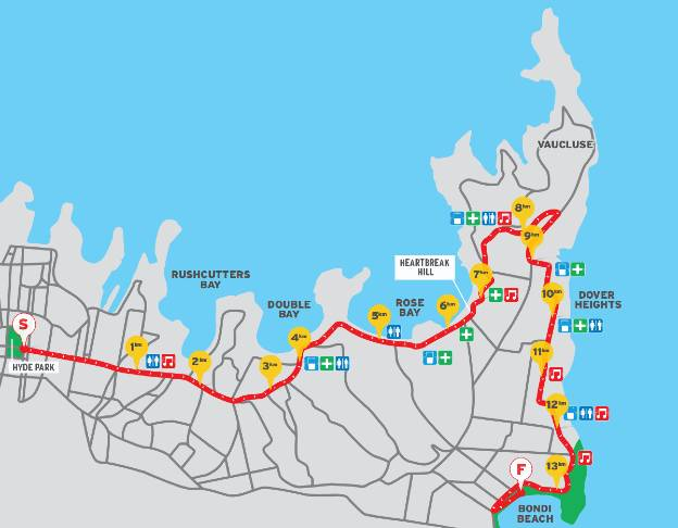 The City2Surf course map - from Sydney's CBD to Bondi Beach.