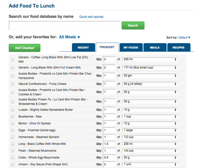 Adding food to MFP